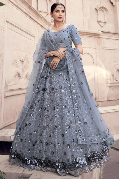 Steel Grey Party Wear Lehenga Choli with Sequins Work
