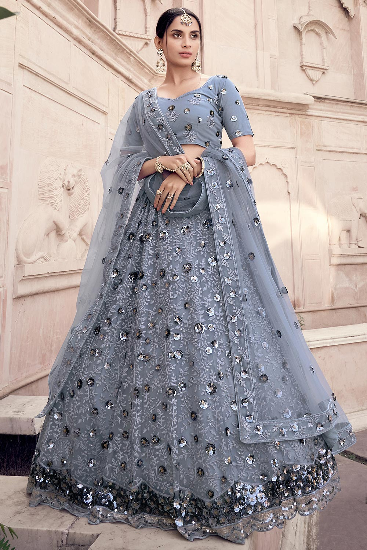 Steel Grey Party Wear Lehenga Choli with Sequins Work