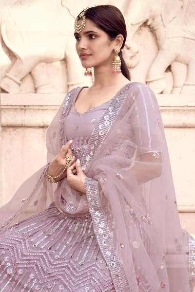 Dusky Lilac Party Wear Lehenga Choli with Sequins Work