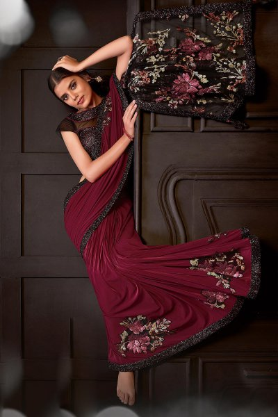 Maroon Party Wear Lycra Saree Embellished with Sequins