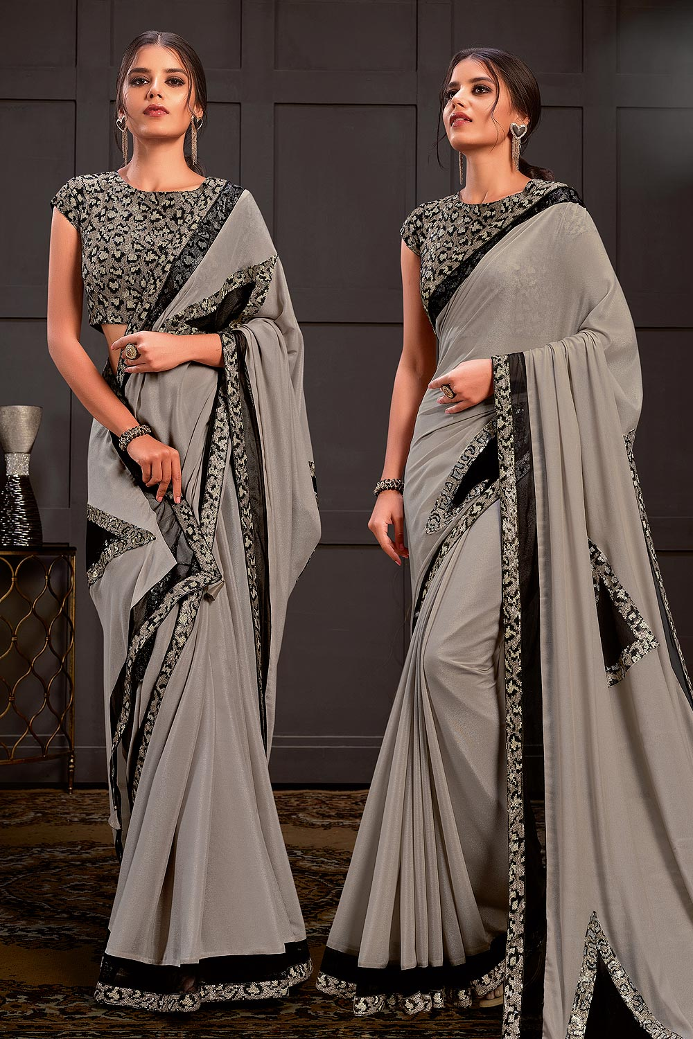 Grey Sequins & Net Applique Work Party Wear Saree