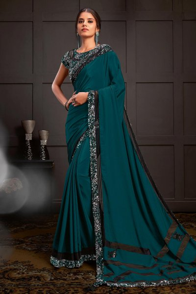 Teal Blue Sequins Embellished Party Wear Saree