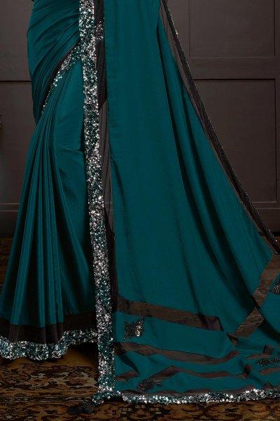 Teal Blue Sequins Embellished Party Wear Saree