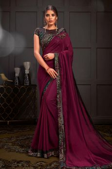 Wine Party Wear Saree Embellished with Sequins