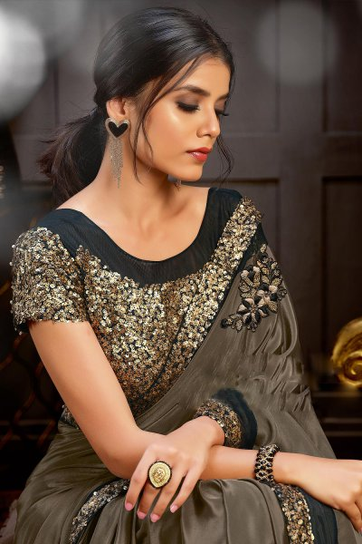 Mocha Brown Party Wear Sequins Embellished Saree & Blouse