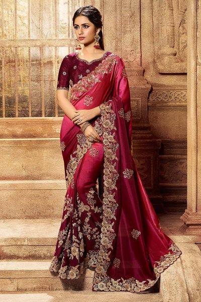 Pink & Maroon Ombre Silk Designer Saree with Embroidery