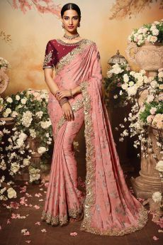 Peach Silk Designer Saree with Embroidery