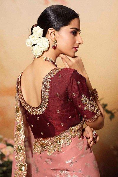 Peach Silk Designer Saree with Embroidery