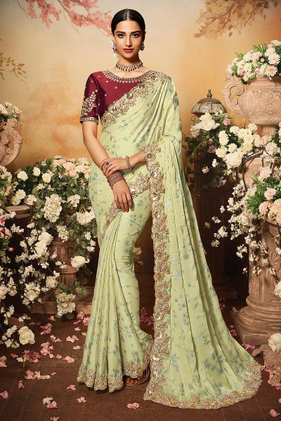Pale Olive Green Silk Designer Saree with Embroidery