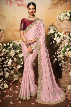 Pale Pink Silk Designer Saree with Embroidery
