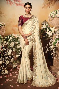 Ivory Silk Designer Saree with Embroidery