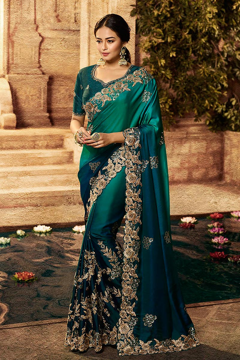 Green Ombre Art Silk Designer Saree with Embroidery