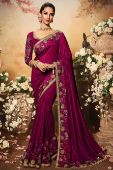 Magenta Pink Silk Designer Saree with Embroidery