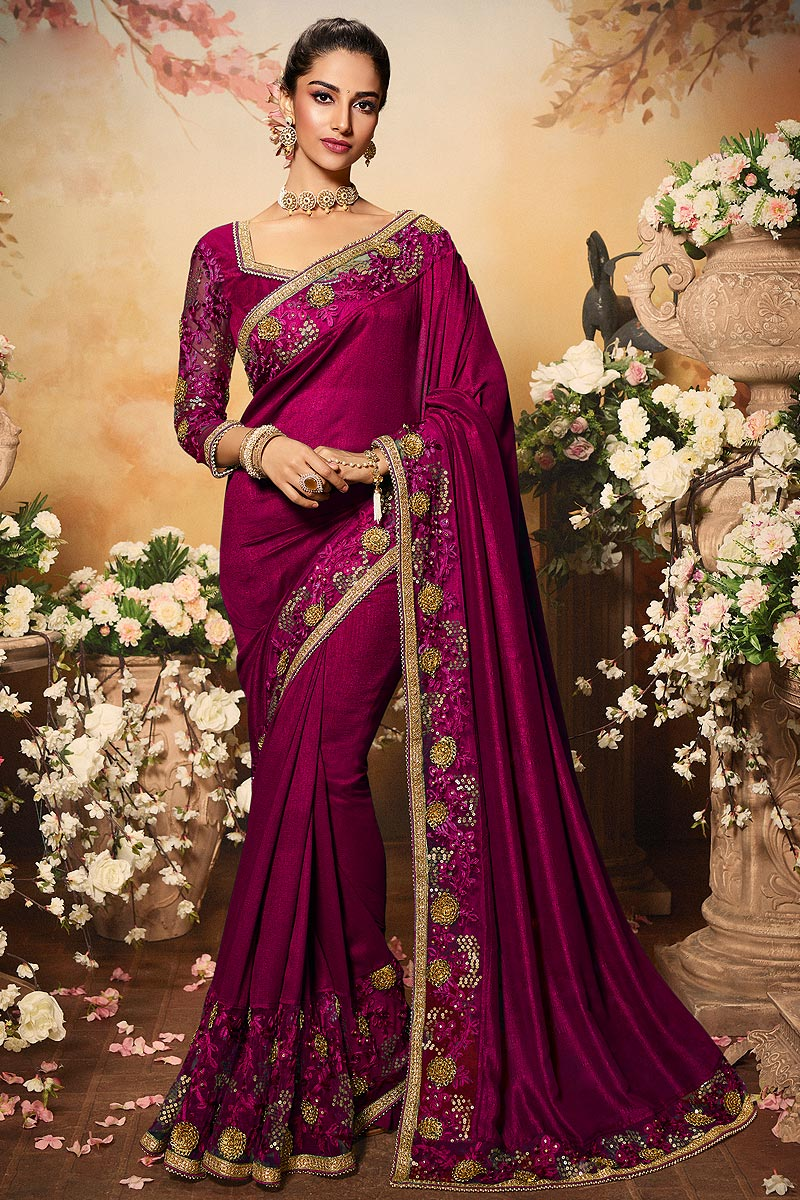 Magenta Pink Silk Designer Saree with Embroidery