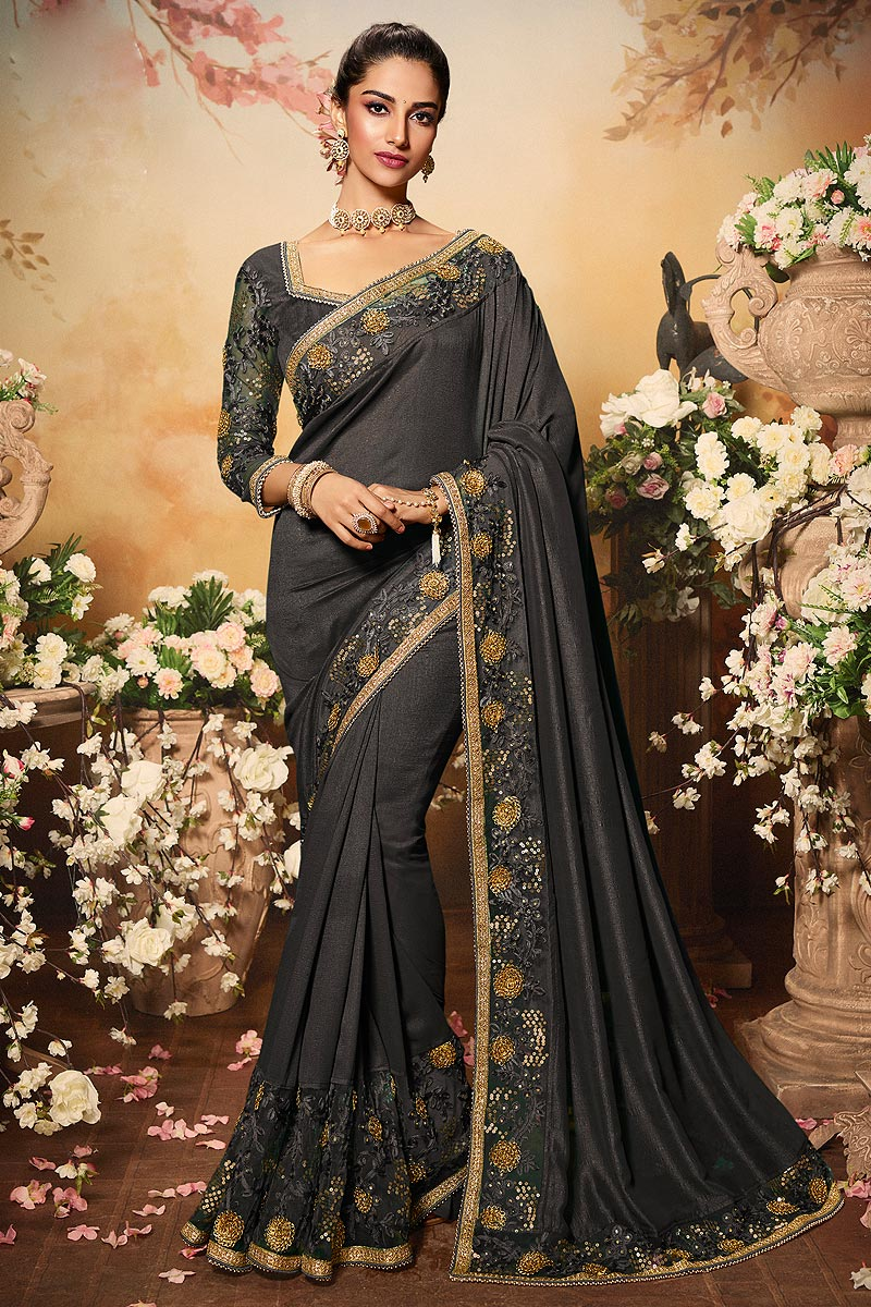 Charcoal Grey Silk Designer Saree with Embroidery