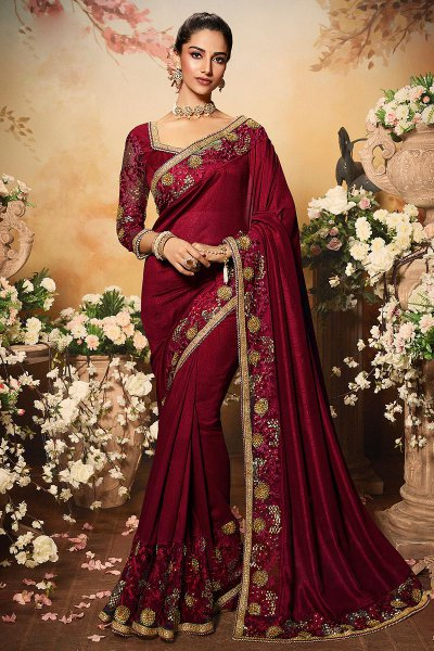 Maroon Silk Designer Saree with Embroidery
