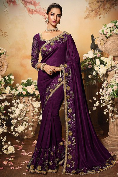Purple Silk Designer Saree with Embroidery