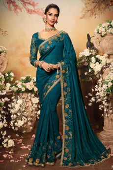 Turquoise Silk Designer Saree with Embroidery