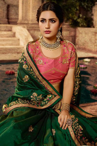 Green Silk Designer Saree with Embroidery