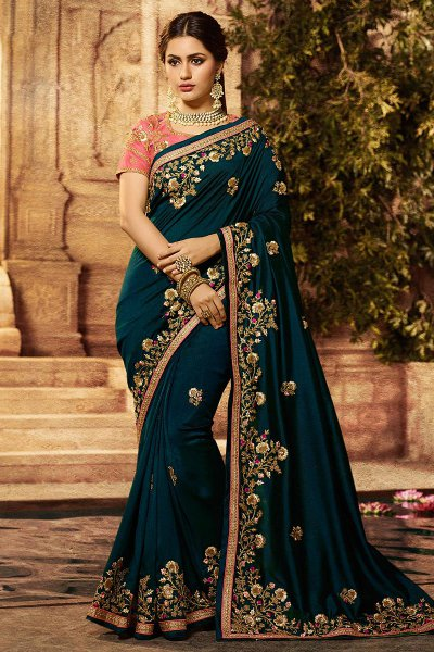 Dark Green Silk Designer Saree with Embroidery