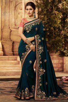 Dark Green Silk Designer Saree with Embroidery