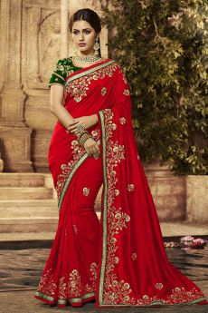 Red Silk Designer Saree with Embroidery