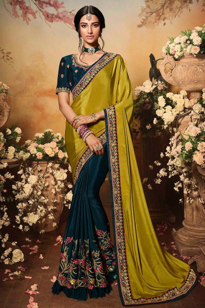 Dark Green & Mustard Two Tone Designer Saree with Embroidery
