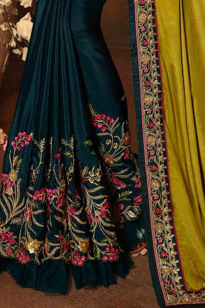 Dark Green & Mustard Two Tone Designer Saree with Embroidery