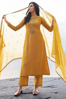 Mustard Hand Embroidered Cotton Silk Palazzo Suit