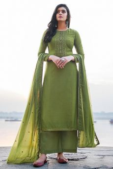 Green Hand Embroidered Cotton Silk Palazzo Suit