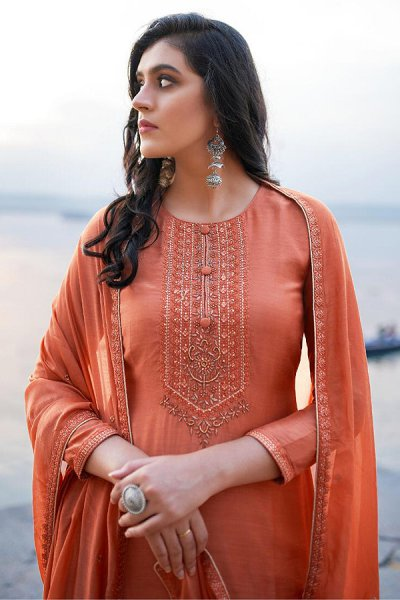 Coral Hand Embroidered Cotton Silk Palazzo Suit