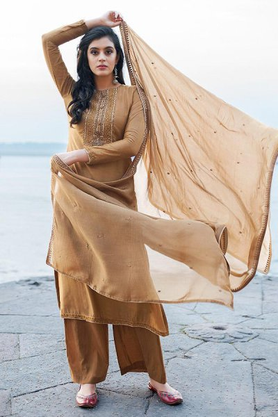Brown Hand Embroidered Cotton Silk Palazzo Suit