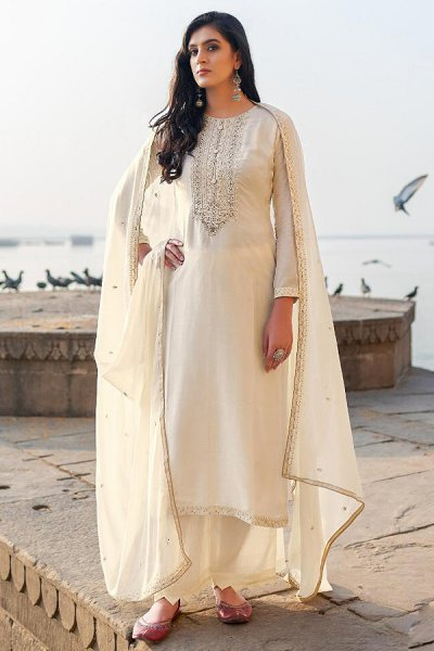Off- White Hand Embroidered Cotton Silk Palazzo Suit