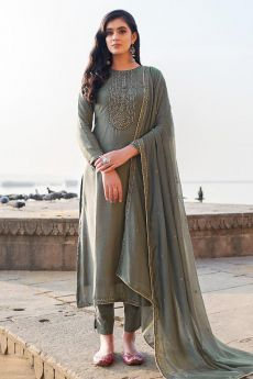 Charcoal Grey Hand Embroidered Cotton Silk Palazzo Suit