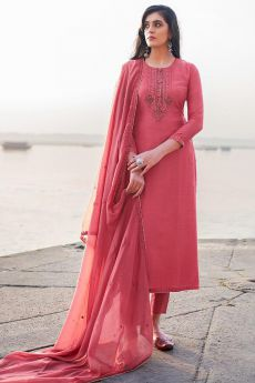 Pink Hand Embroidered Cotton Silk Palazzo Suit