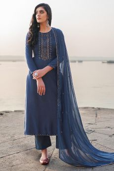Navy Blue Hand Embroidered Cotton Silk Palazzo Suit