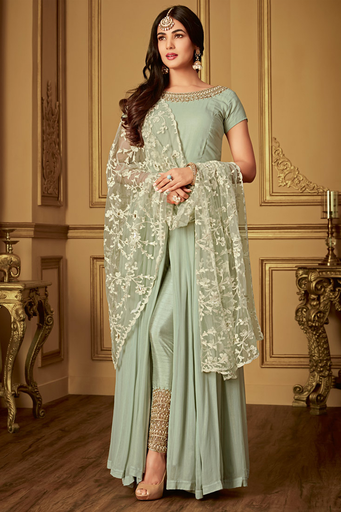Sage Green Pure Georgette Slit Anarkali Suit with Embroidered Pants & Dupatta