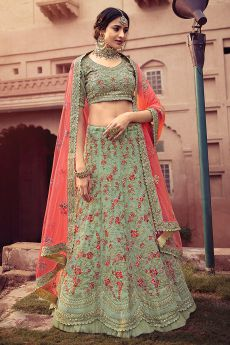 Pista Green Resham Embroidered Lehenga Choli in Georgette