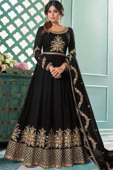Black Zari Embroidered Georgette Anarkali Suit