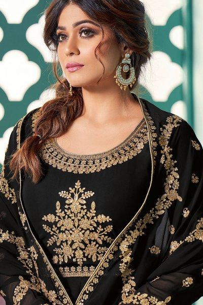Black Zari Embroidered Georgette Anarkali Suit