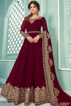 Maroon Zari Embroidered Georgette Anarkali Suit