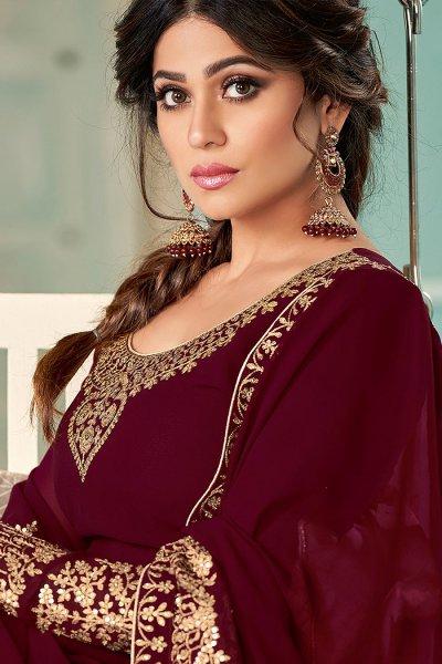 Maroon Zari Embroidered Georgette Anarkali Suit