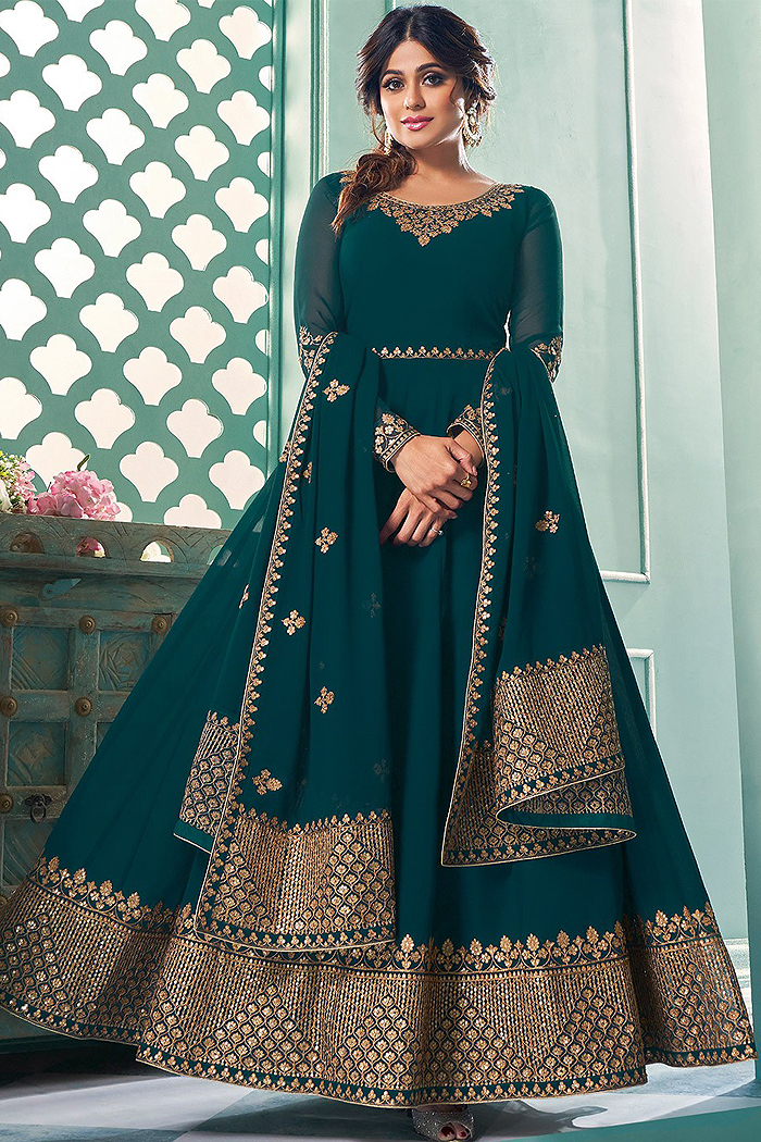Dark Teal Zari Embroidered Georgette Anarkali Suit