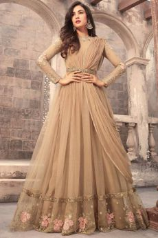 Beautiful Beige Embroidered Anarkali Suit