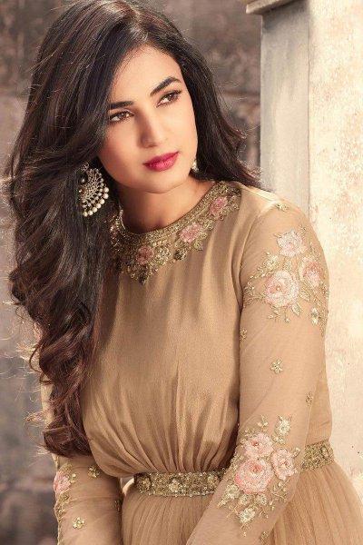 Beautiful Beige Embroidered Anarkali Suit