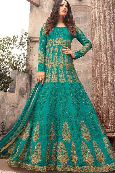 Teal Green Embroidered Anarkali Dress