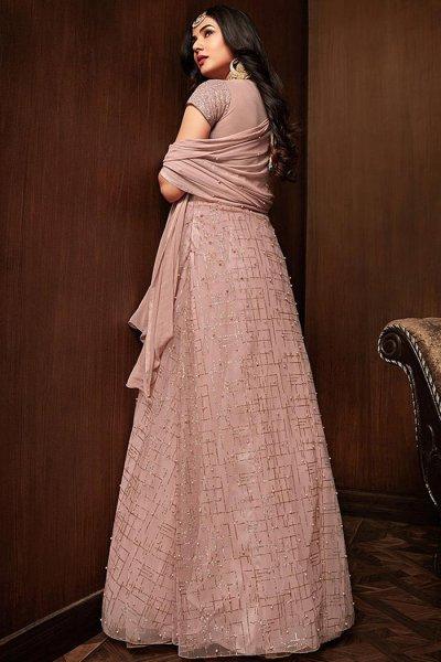 Designer Sequin Embellished Anarkali Suit in Net
