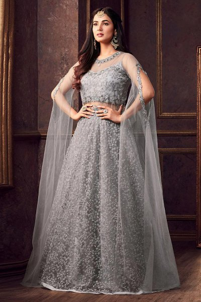 Embroidered Grey Anarkali Suit with Stylish Long Sleeves