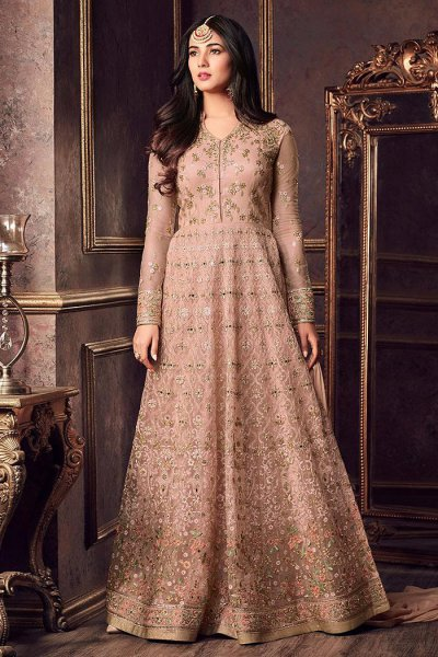Taupe Embroidered Anarkali Suit