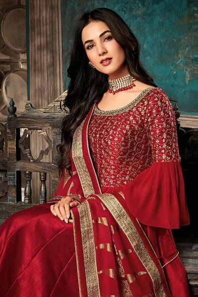 Red Zari Embroidered Anarkali Suit